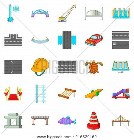 Intersection icons set. Cartoon set of 25 intersection vector icons for web isolated on white background