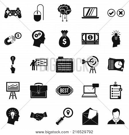 Creating game icons set. Simple set of 25 creating game vector icons for web isolated on white background