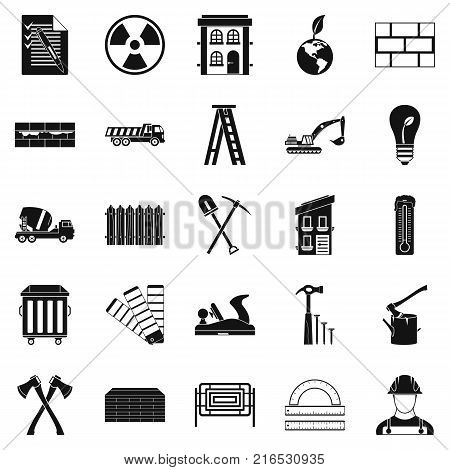 Material icons set. Simple set of 25 material vector icons for web isolated on white background