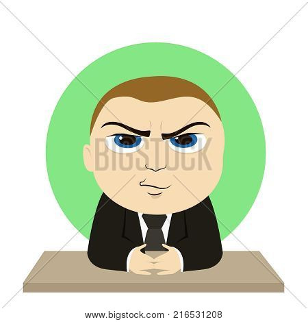 Angry boss at the table vector cartoon illustration