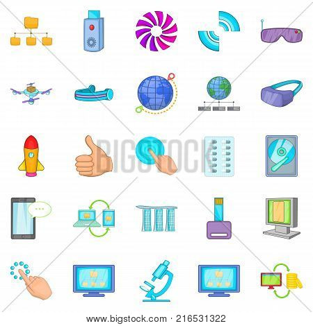 Progressive technology icons set. Cartoon set of 25 progressive technology vector icons for web isolated on white background