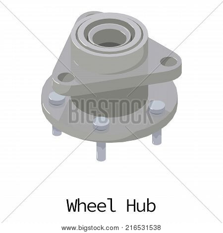 Wheel hub icon. Isometric illustration of wheel hub vector icon for web