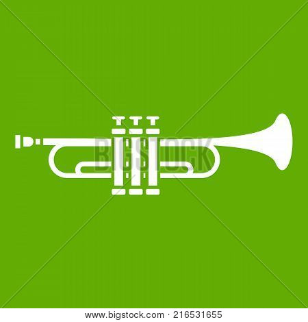 Brass trumpet icon white isolated on green background. Vector illustration