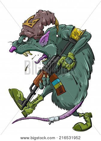 green rat thug with a rifle satirical illustration