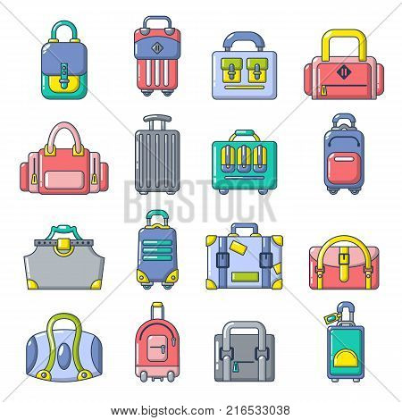 Bag baggage suitcase icons set. Cartoon illustration of 16 bag baggage suitcase vector icons for web