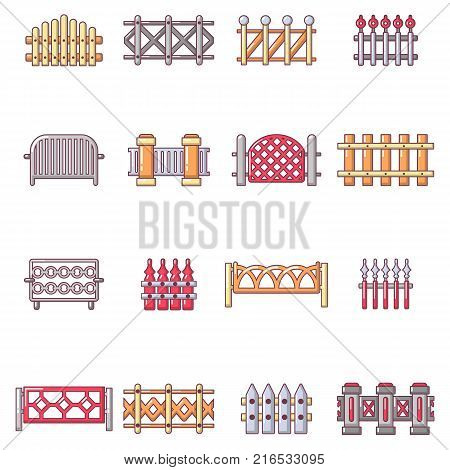 Different fencing icons set. Cartoon illustration of 16 different fencing vector icons for web