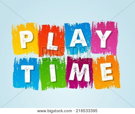 playtime - text in motley colored flat design tablets, drawn banner, holiday concept, vector