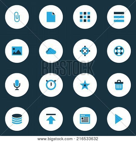 User icons colored set with second meter, start, recycle bin and other second meter elements. Isolated vector illustration user icons.