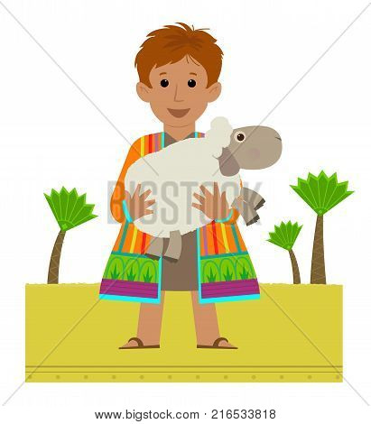 Joseph with his colorful coat holding a sheep in his arms. Esp 10
