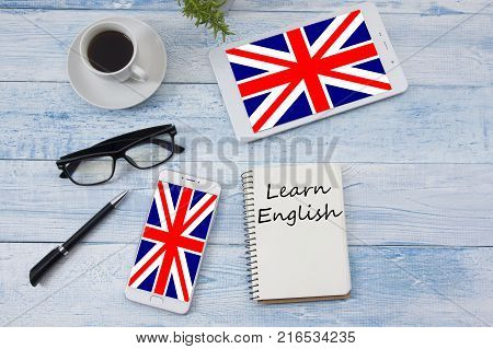 Learn English concept. Time to Learning languages