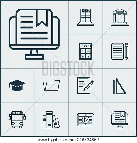 Education icons set with measurement, library, document case and other e-study  elements. Isolated vector illustration education icons.
