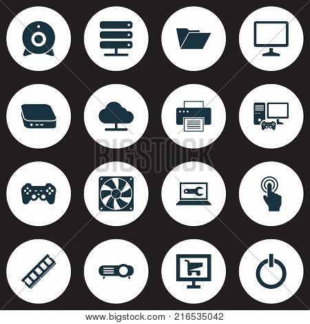 Gadget icons set with dossier, tree, gamer computer and other printing machine elements. Isolated vector illustration gadget icons.