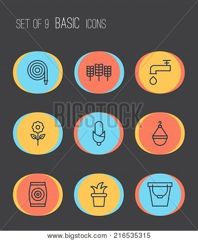 Garden icons set with bloom, pail, fertilizer and other fertilizer elements. Isolated vector illustration garden icons.