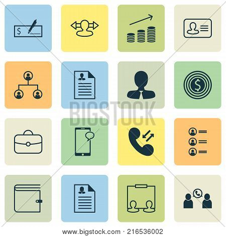 Management icons set with goal, manager, presentation and other manager elements. Isolated vector illustration management icons.