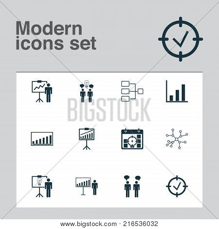 Board icons set with team meeting, approved target, company statistics and other report demonstration elements. Isolated vector illustration board icons.