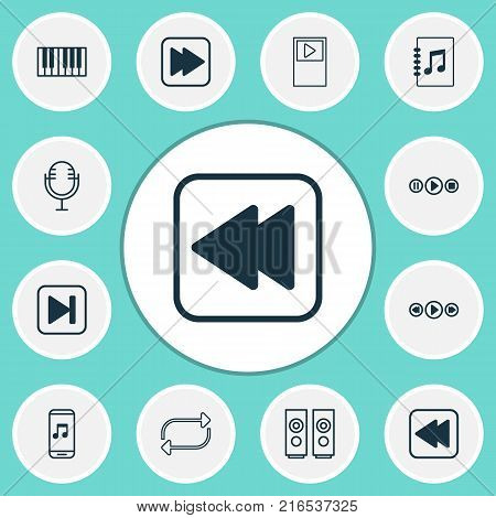 Audio icons set with player, music control, rewind back and other sound box elements. Isolated vector illustration audio icons.