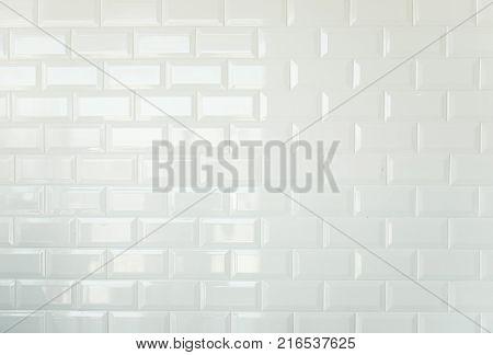White brick tiles, vintage tiled wall background