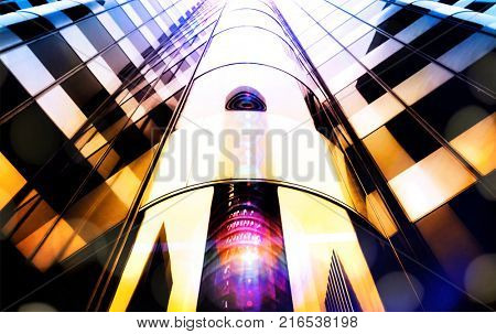 High key skyscraper at sunset with light orbs and reflections