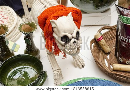 OAXACA, OAXACA, MEXICO- NOVEMBER 1, 2017: Skeleton dog with a scarf as decoration for mexican Day of the Dead celebration at a store in Oaxaca, Mexico