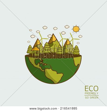 Vector illustration of earth with of wind turbine house and trees. Background for save earth day. Environmental ecology nature protection and pollution concept.