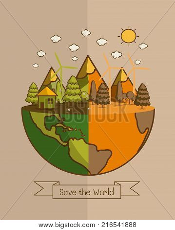 ECO FRIENDLY. Different of world. Ecology concept with Green Eco Earth and Trees. Vector illustration.