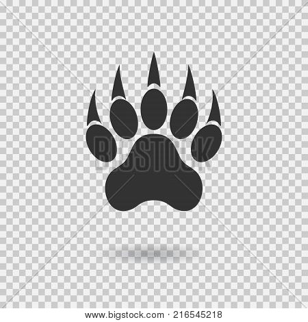 Animal paw print with claws. Tiger paw with shadow. Web icon. Footprint. Vector illustration isolated on transparent background.