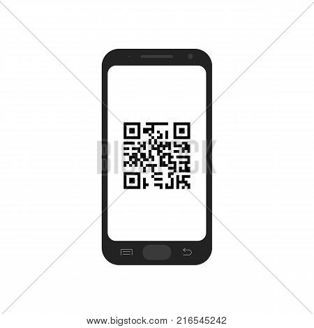 QR code in mobile phone. Digital technology. Vector illustration isolated on white background.