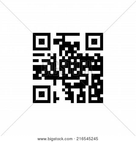 QR code icon. Simple code for mobile phone. Cipher. Digital technology. Vector illustration isolated on white background.
