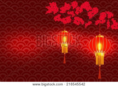 Chinese New Year. On the branchy blossoming red cherries. hanging red Chinese lantern. Vector illustration