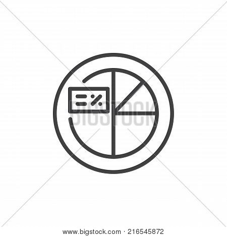 Pie chart with percent cart line icon, outline vector sign, linear style pictogram isolated on white. Percentage graph symbol, logo illustration. Editable stroke