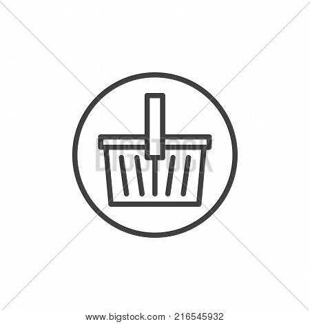 Shopping basket line icon, outline vector sign, linear style pictogram isolated on white. Basket store symbol, logo illustration. Editable stroke