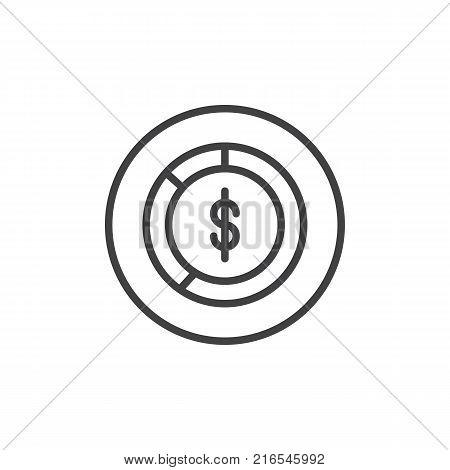Dollar pie chart line icon, outline vector sign, linear style pictogram isolated on white. Money diagram symbol, logo illustration. Editable stroke