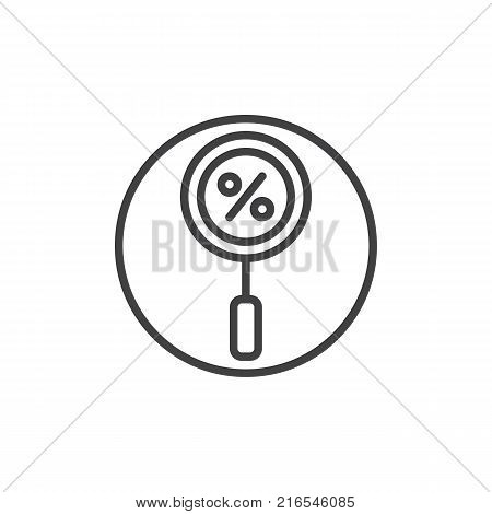 Magnifying glass with a percent line icon, outline vector sign, linear style pictogram isolated on white. Search the best discount sale symbol, logo illustration. Editable stroke