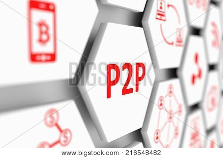 P2P concept cell blurred background 3d illustration