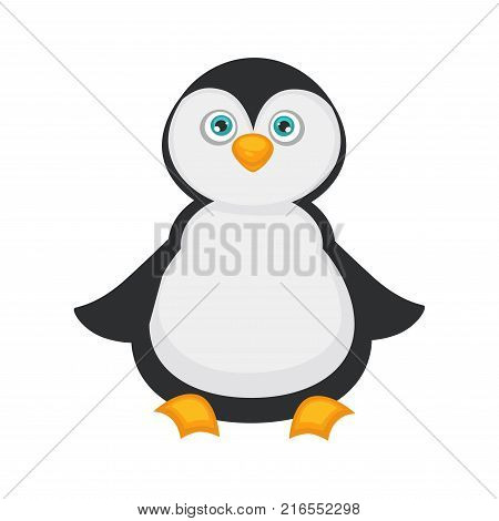 Penguin baby with big blue eyes, plump belly, black and white plumage, small wings and yellow beak and paws. Bird from Antarctic that not able to fly isolated cartoon flat vector illustration.