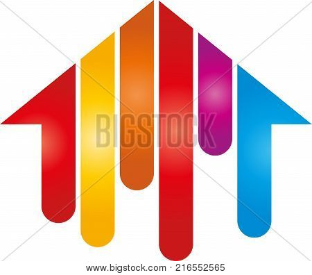 House in paints, painters and industry logo