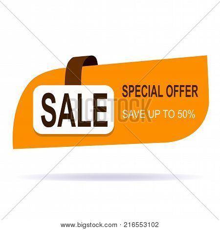 Original offer sale tag fifty vector illustration. Discount offer price label, symbol for advertising campaign in retail, sale promo marketing, fifty percent off discount sticker, ad offer on shopping day