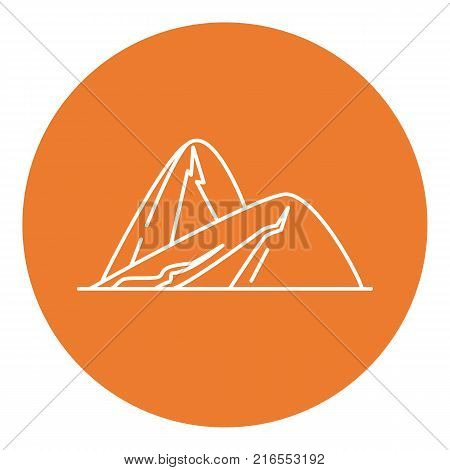 Sloping hills icon in thin line style. Outline mountain symbol in round frame.