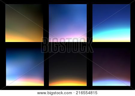 Set of cosmos and space vector background with light silhouette of Earth and northern lights. Deep dark space blurry background with planet Earth light