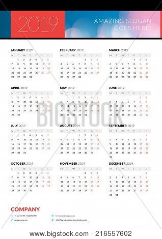 Calendar Poster 2019 Vector Photo Free Trial Bigstock