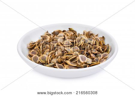 dried heracleum siamicum craib (Heracleum Barmanicum Kurz) tropical herb in the white plate isolated on white background