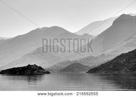 High mountains over the lake Skadar in Montenegro