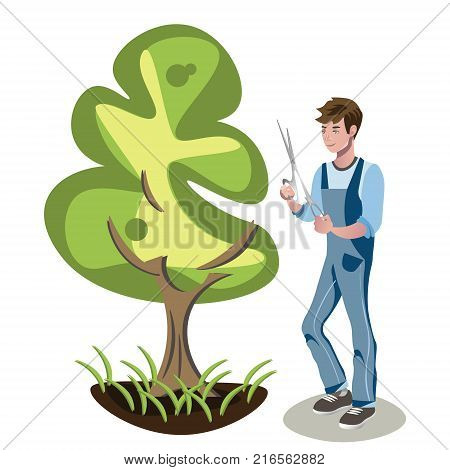 Gardener s man is cutting a bush. Vector illustration in a flat style