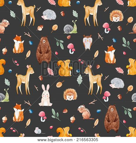 Beautiful seamless watercolor baby pattern with nice animals