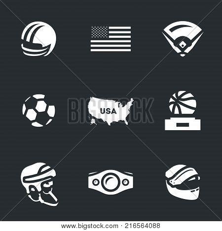 Football, flag, baseball, ball, map, reward, hockey, boxing belt, racing helmet.