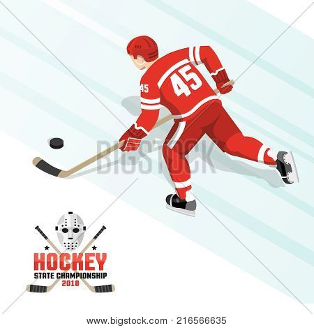 Ice hockey player with puck in red uniform - isometric view from the back.