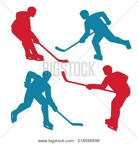 Red and blue silhouettes of hockey players in various poses