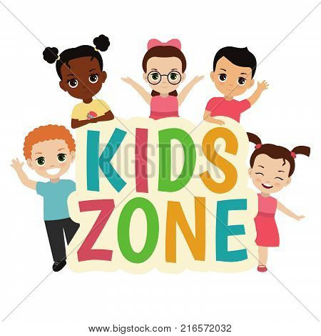 Kids zone design concept with group of children.