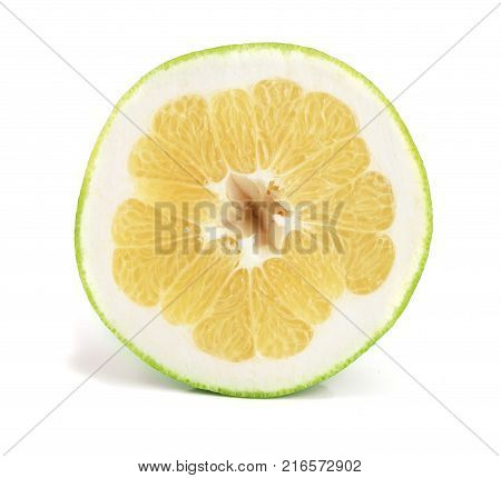 slice of Citrus Sweetie or Pomelit, oroblanco and leaf isolated on white background close-up.