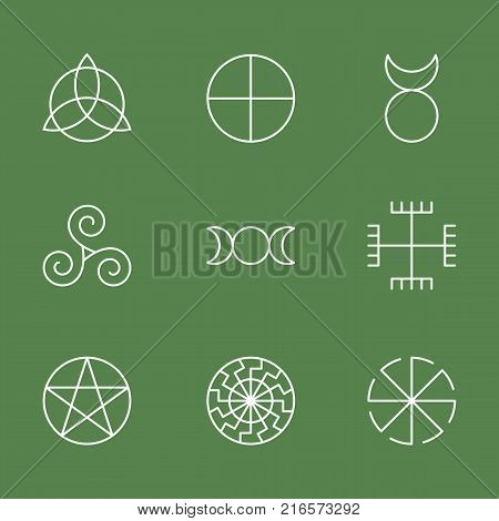 Pagan ancient symbols, mystery sacred icons, illustration vector poster